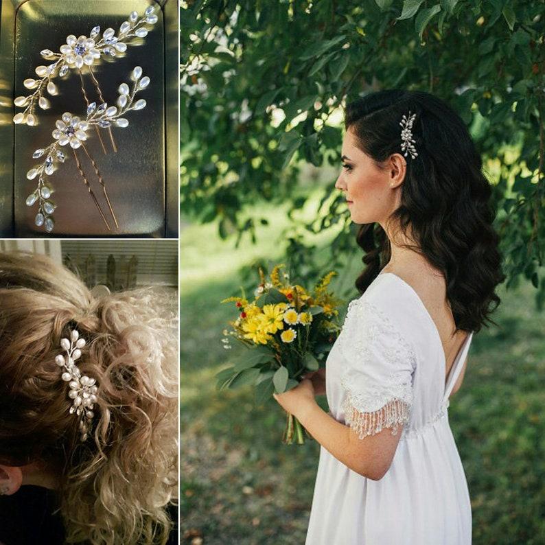 Wedding Hair Pins Crystal Bridal hair pins faux pearls hair image 0