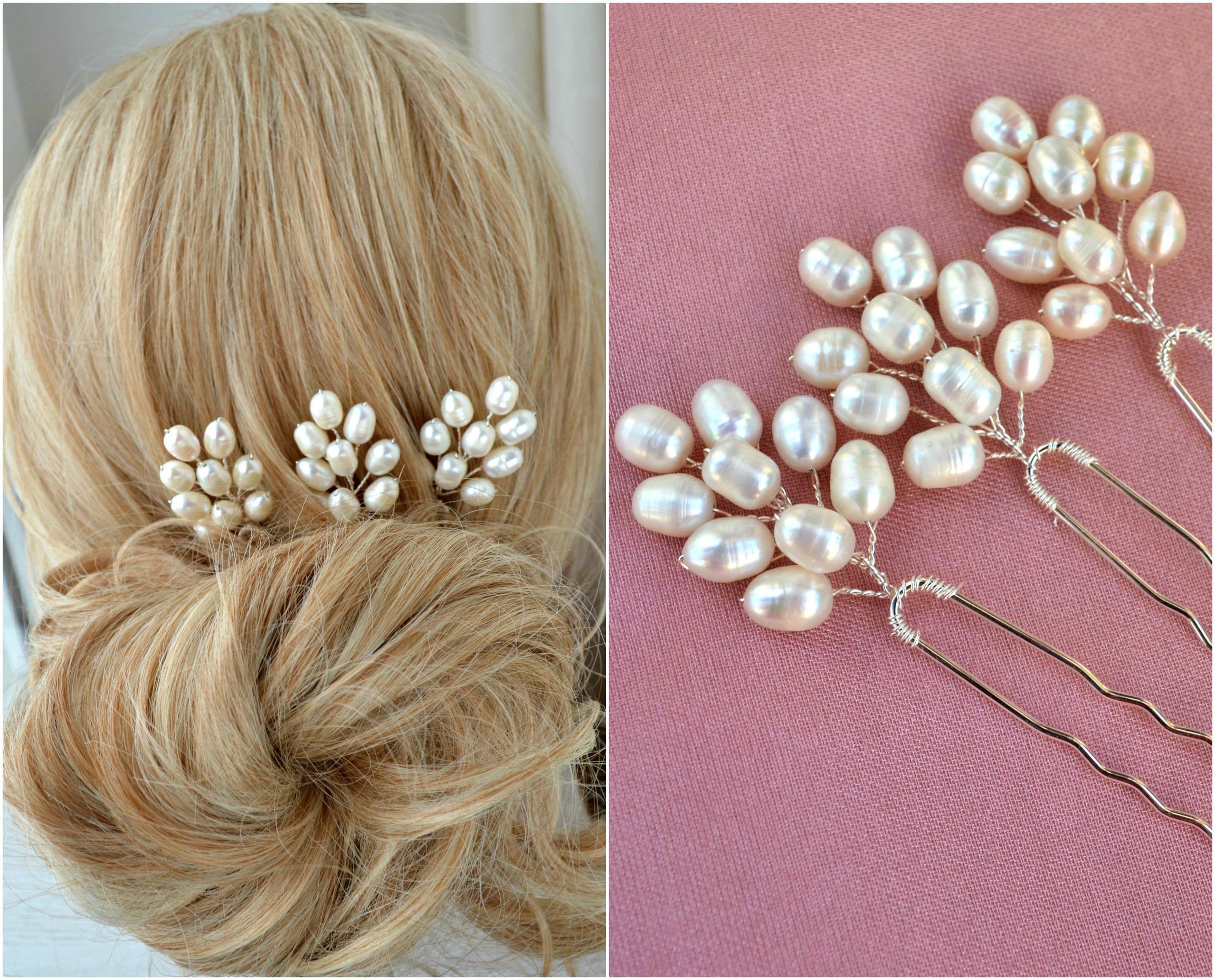 mariage pins set de 3 bridal cheveux accessoires cheveux perle etsy. Black Bedroom Furniture Sets. Home Design Ideas