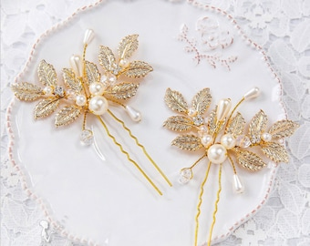 Wedding Hair Pins Hair accessories Golden Leaves hair piece comb crystal hair pins Hair Jewelry pearls