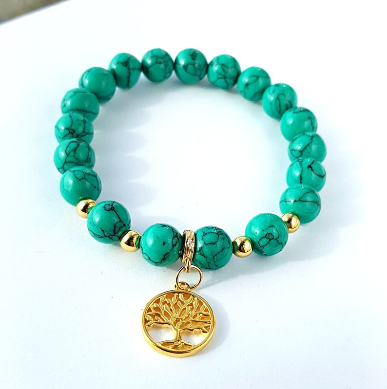 Natural beaded bracelet Howlite beads Life Tree gold plated jewelry gold findings Birthday Gift