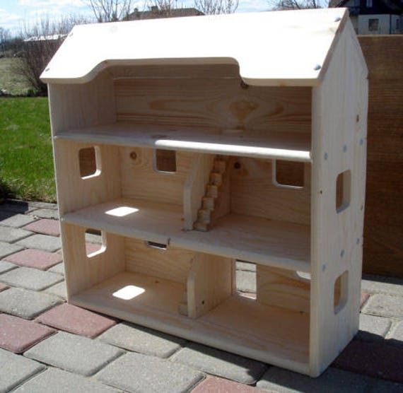 Wood Doll House Handmade Wooden Kids Toy Natural Pine Wooden Etsy