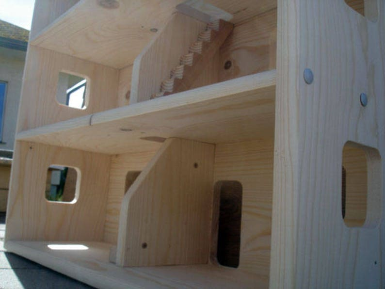Handmade Wooden Kids Toy Natural Pine Wooden Dollhouse with 3 Floors Wood Doll House Personalized with your kids name