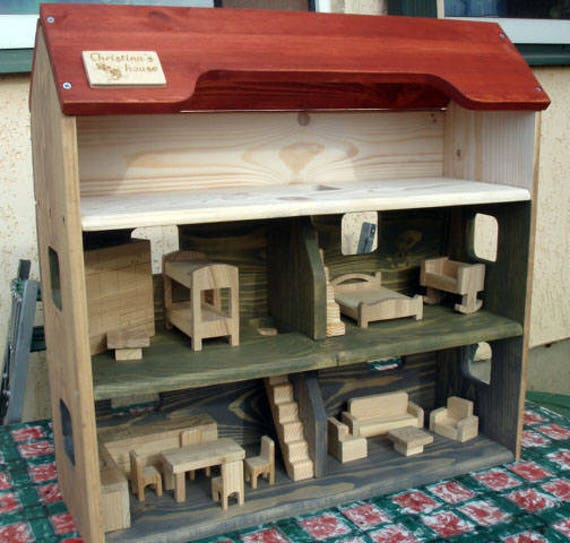 Wood Doll House With Furnitur Handmade Wooden Kids Toy