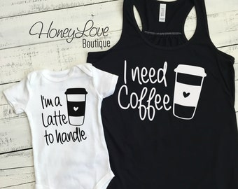 I need Coffee tank and I'm a Latte to handle bodysuit SET - flowy tank mommy and me, mother daughter son matching outfit infant baby mom