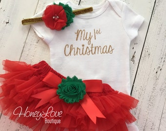 1st Christmas Set GOLD or SILVER bodysuit, red green flower glitter headband bow, tutu skirt bloomers infant baby girl First Santa Outfit