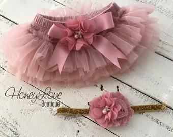 SET Vintage Pink Dusty Rose Mauve tutu skirt bloomers diaper cover, pearl rhinestone flower glitter headband bow, newborn toddler baby girl