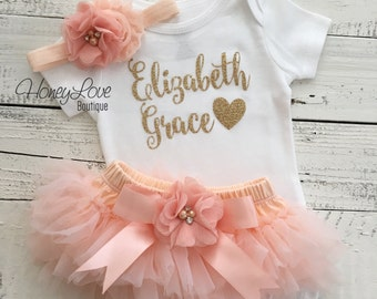 PERSONALIZED SET gold glitter shirt bodysuit, peach ruffle tutu skirt bloomers, flower headband, newborn baby girl take home hospital outfit