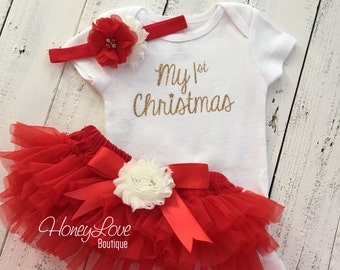 1st Christmas Set GOLD or SILVER glitter bodysuit, red ivory flower headband bow, tutu skirt bloomers infant baby girl First Santa Outfit