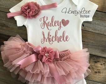 Baby Girl Coming Home Outfit, Personalized Coming Home Outfit Baby Girl, Take Home Outfit, Newborn Baby Clothes, vintage pink dusty rose set