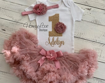 PERSONALIZED 1st Birthday Outfit, vintage pink gold glitter 1 number shirt, pettiskirt tutu skirt, headband bow, First Cake Smash baby girl