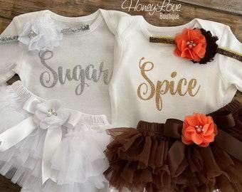 Twin girls Halloween costume outfit Sugar & Spice gold silver glitter bodysuit ruffle tutu skirt bloomer bow newborn toddler little baby