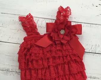 d49314bc507 Christmas Red Lace Petti Romper and matching rhinestone lotus poinsettia  flower headband hair bow - newborn infant toddler baby girl