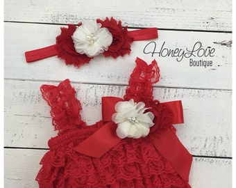 c0a66f2772e Christmas Red Lace Petti Romper and matching rhinestone pearl ivory flower  headband - newborn infant toddler baby girl - Santa photo outfit