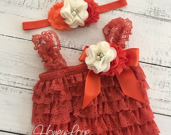 789d10208a2 Fall Outfit - Orange Lace Petti Romper   matching headband rhinestone  pearl