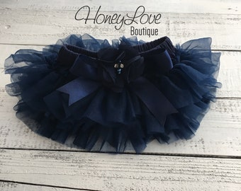 82aa49ce19 Navy Blue tutu skirt bloomers diaper cover, embellished Navy Blue pearl  flower, ruffles all around newborn infant toddler little baby girl