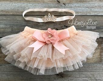 3b8869ab82 SET Princess crown tiara headband, peach gold glitter tutu skirt bloomer  bloomers, ruffles all around, newborn infant toddler baby girls