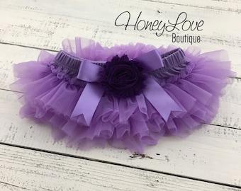 Lavender Grape Purple tutu skirt bloomers diaper cover embellished flower, ruffles all around, newborn infant toddler little baby girl