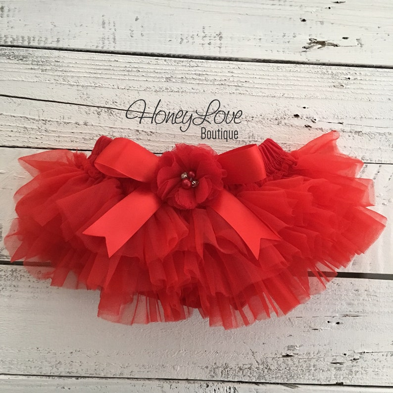 5d18031686 Red Christmas tutu skirt bloomers diaper cover embellished | Etsy