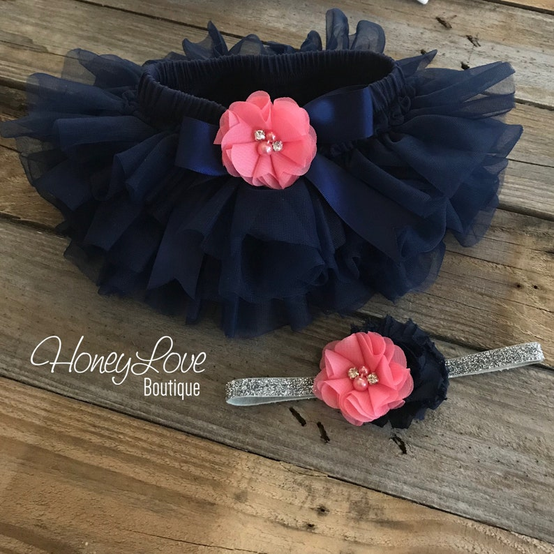 460fc21c4 SET Navy Blue tutu skirt ruffle bloomers diaper cover Coral