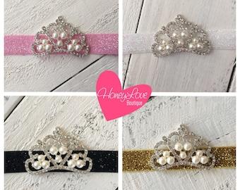 MORE COLORS! Rhinestone & Pearl Tiara Princess Crown glitter elastic headband  - newborn infant toddler baby girls - photo prop, queen