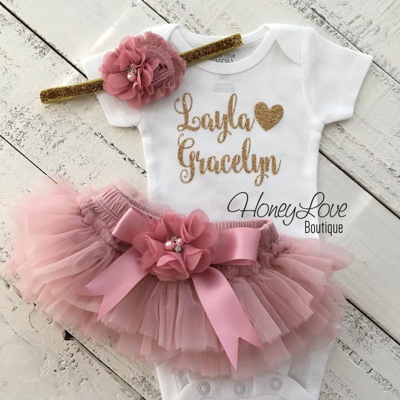 d204a16dc PERSONALIZADO SET brillo oro camiseta mono flor rosa vintage
