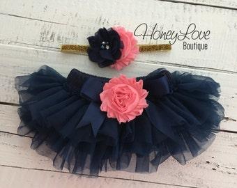 SET Navy Blue tutu skirt ruffle bloomers diaper cover, Coral pink flower gold glitter headband bow, newborn infant toddler baby girl