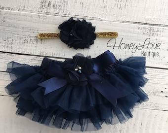 SET Navy Blue tutu skirt ruffle bloomers diaper cover, navy blue flower gold glitter headband bow, newborn infant toddler baby girl