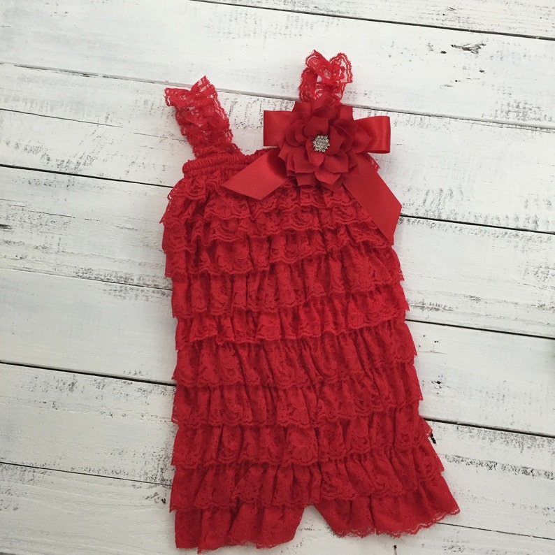 c3ea852810f4f Christmas Red Lace Petti Romper and matching rhinestone lotus poinsettia  flower headband hair bow - newborn infant toddler baby girl