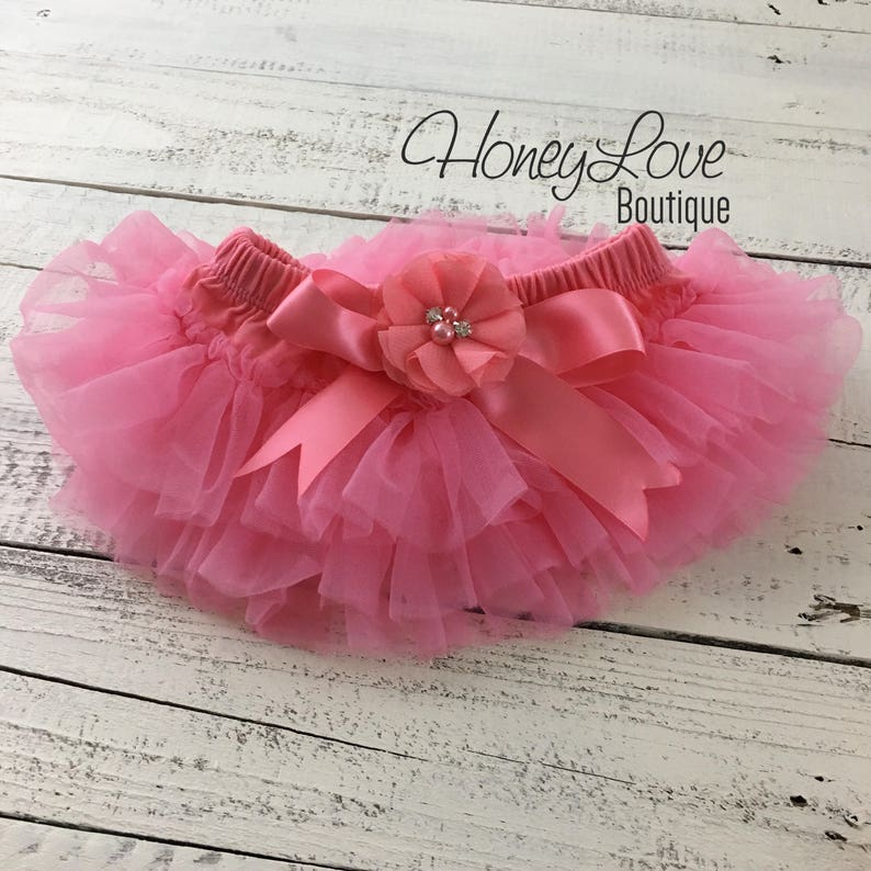 2acfc97eac Coral Pink tutu skirt bloomers diaper cover embellished | Etsy