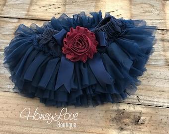 Navy Blue tutu skirt bloomers diaper cover, embellished maroon burgundy wine flower, ruffles all around newborn infant toddler baby girl
