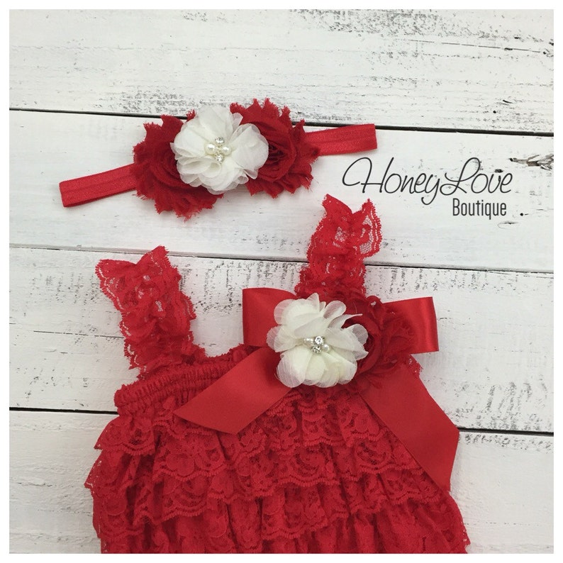 818ec3078a210 Christmas Red Lace Petti Romper and matching rhinestone pearl ivory flower  headband - newborn infant toddler baby girl - Santa photo outfit