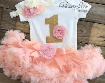 1st Birthday Outfit, peach and  blush pink gold glitter 1 number shirt, pettiskirt tutu skirt, lace shabby flower headband, First Cake Smash