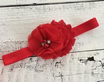 Red headband Christmas shabby chiffon flower rhinestone pearl hair bow, elastic head band pearls newborn infant toddler little baby girl