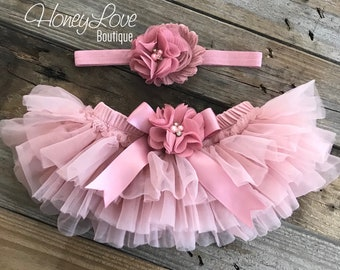 SET Vintage Pink Dusty Rose Mauve tutu skirt bloomers diaper cover and headband outfit, flower headband bow, newborn toddler baby girl