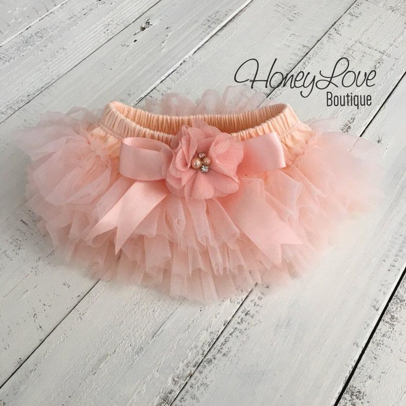 08201ef7ea Peach tutu skirt bloomers diaper cover embellished rhinestone | Etsy