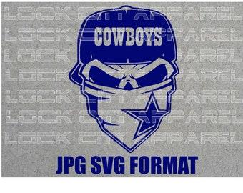 Dallas Cowboys Sports Bandana Skull SVG Cut File Silhouette Cricut
