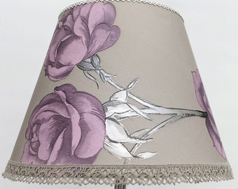 Roses lamp shade, silver leaves, coffee background, Unique floral handmade lampshade, table lampshade, bedroom lamp decor, recycled lighting