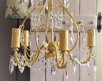 Crystal chandelier lighting, vintage crystal pendant lighting fixture upcycled Annie Sloan English yellow, ceiling light, statement lamp