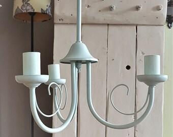 Lighting chandelier, Duck Egg pendant ceiling light, home lighting, upcycled vintage light, light fixture, farmhouse decor, shabby chic lamp