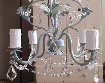 Vintage crystal chandelier, pendant light fixture vintage lead crystal, ceiling lighting shabby chic hanging light, pale duckegg Annie Sloan