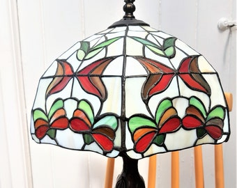 Vintage Tiffany style lamp, Stained glass lamp shade, flower, butterfly, leaves lampshade, tree lamp base, white glass shade, table light