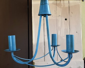 Blue pendant ceiling light fixture, industrial chandelier lighting, UK USA EU fitting, Vintage upcycled electric lamp lights, Fast delivery