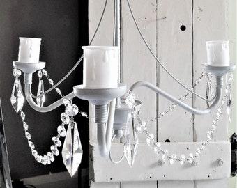 Grey crystal chandelier light fixture, upcycled shabby chic flush ceiling light, Pendant vintage lighting, pewter gilding & vintage crystals