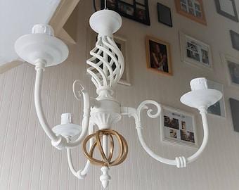 Orb chandelier lighting. White ceiling pendant light, upcycled light fixture, interior design, hanging light, Iron light, home lighting lamp