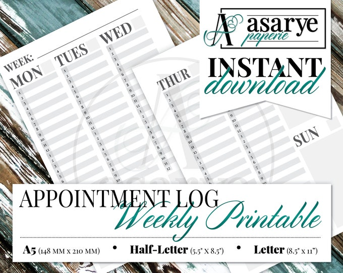 Appointment Log Weekly Planner with Habit Tracker   A5, Half-Letter, Letter   Instant Download