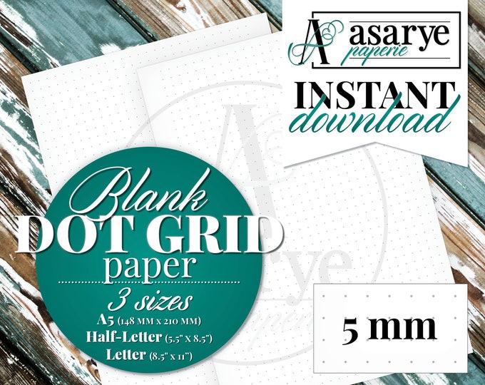 Blank Dot Grid Pages | Printable | PDF | Letter, Half-Letter, A5 | Instant Download
