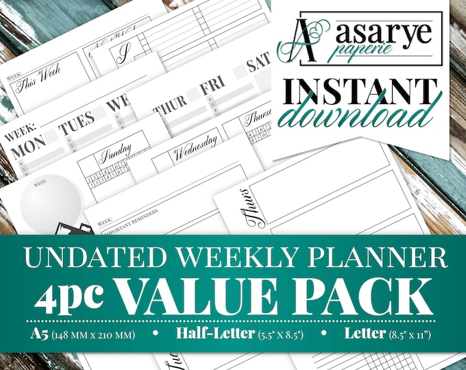 VALUE PACK WEEKLY Planner | 4 Undated Layouts | A5, Half-Letter, Letter | Instant Download