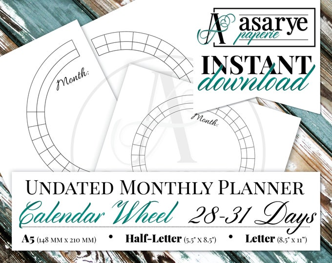 Calendar Wheel Monthly Planner | 28-31 Days | A5, Half-Letter, Letter | Instant Download