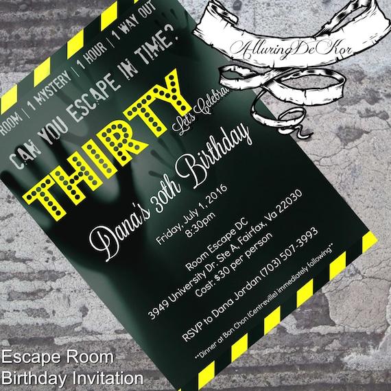 Pokój Ucieczki Zaproszenie Urodziny Etsy