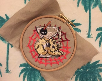 Drunken skull with Martini - embroidery - textile - illustration - tattoo - craft - fabric.
